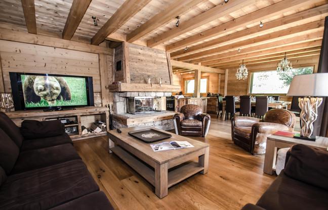 intérieur salon chalet Chamonix- photographe immobilier