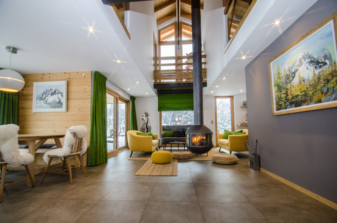 intérieur design chalet Alpes -photographe immobilier Haute Savoie