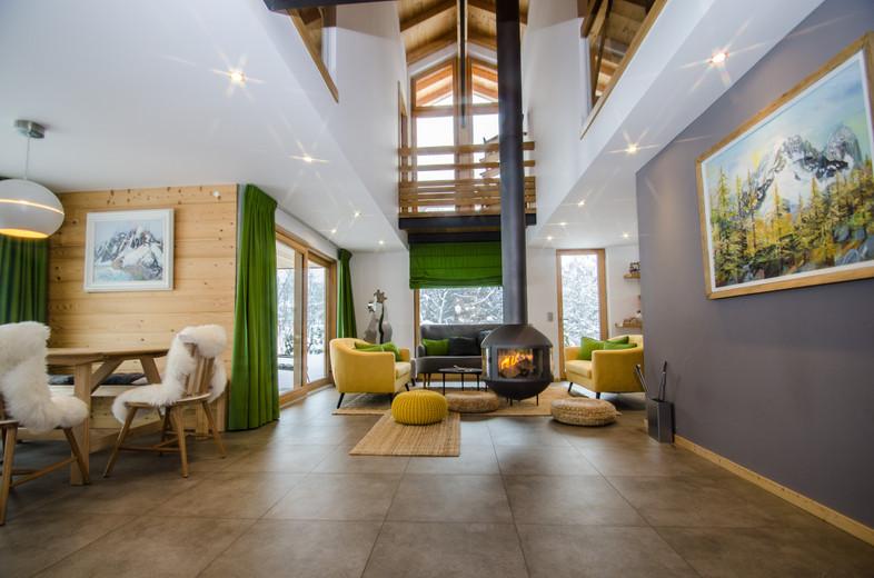 intérieur design chalet Alpes -