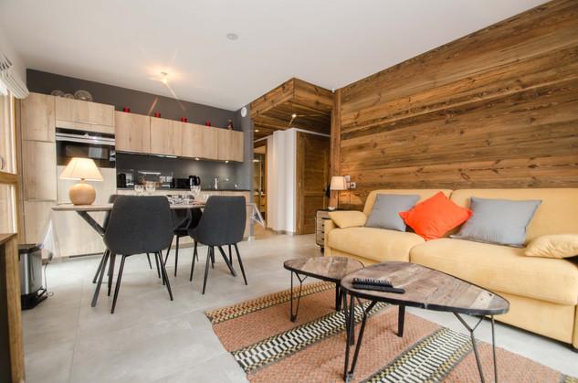 intérieur séjour 2 pièces Chamonix - photographe immobilier