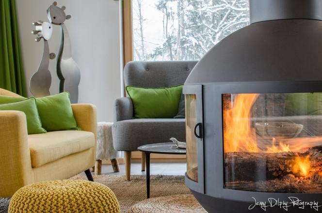 feu de cheminée chalet Combloux- photographe immobilier