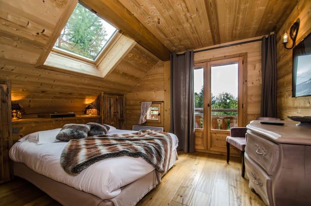 intérieur chambre chalet Chamonix- photographe immobilier