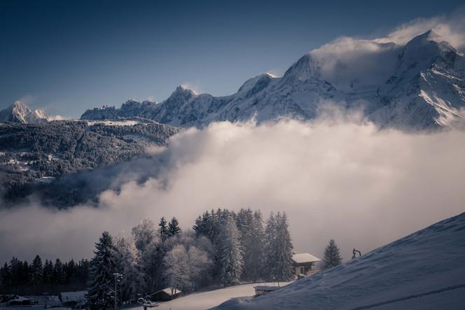 Vue Mont blanc en hiver -Saint gervais