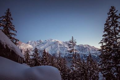 Vue  Mont Blanc - tombée de la nuit sur Plaine Joux