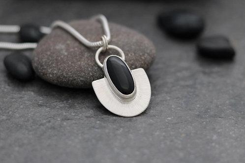 Black Onyx Hammered Silver Fan Pendant