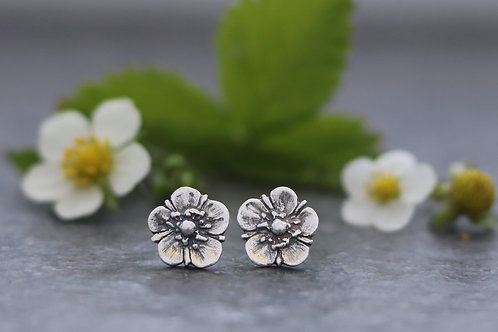 Wild Strawberry Blossom Stud Earrings