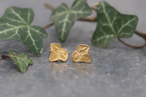 Ivy Leaf Stud Earrings - Gold Vermeil