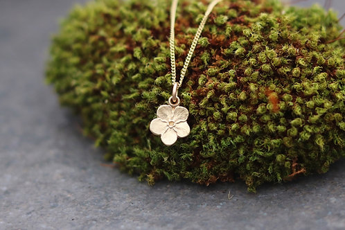 9ct Gold Forget-me-not Pendant