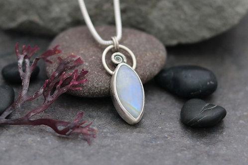 Rainbow Moonstone Ammonite Necklace
