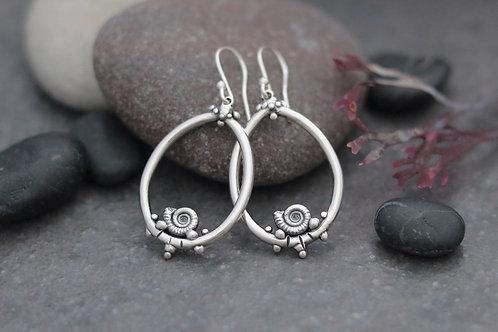 Ammonite Teardrop Dangle Earrings