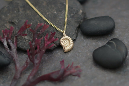 9ct Gold Ammonite Fossil Pendant - Small