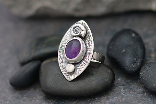 Ammonite and Amethyst Ring (Marquise)