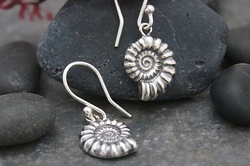 Ammonite Fossil Dangle Earrings