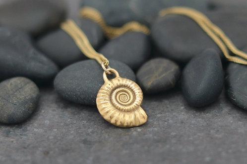 9ct Gold Ammonite Fossil Pendant - Medium