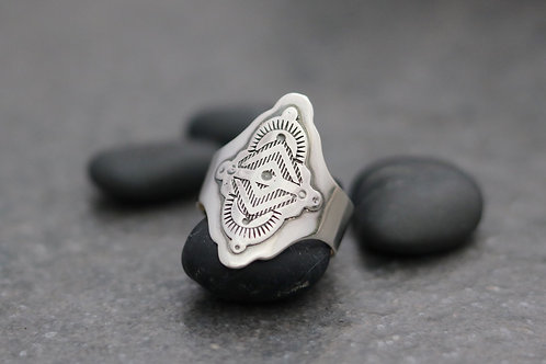 Hand Stamped Patterned Ring