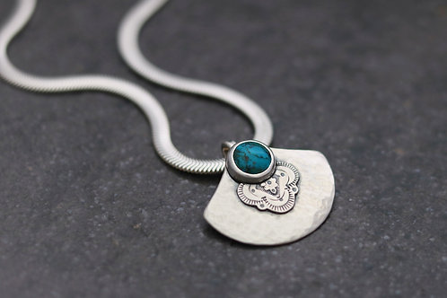 Turquoise Hammered Fan Necklace