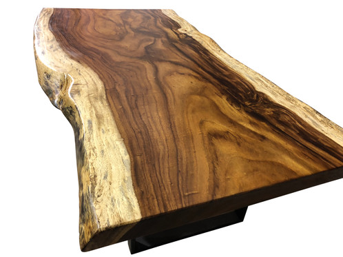 Rich In Every Detail This One Of A Kind Guanacaste Slab Table Is Presented  With The Natural Live Edge That Leaves The Light Contrast Of The Sap Wood  Intact.