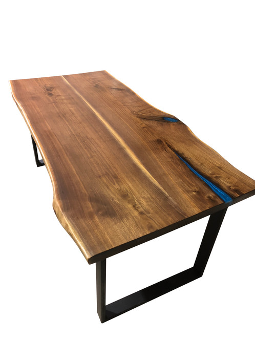 American Black Walnut Dining Table With Blue Accent