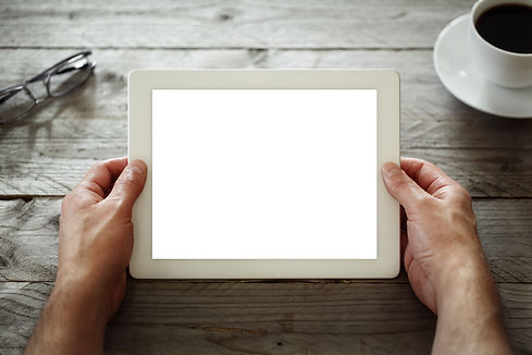 Digital tablet with blank screen in coff