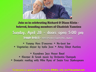 Our 2nd Honorable Menschen - April 28th Honor our beloved founding members Richard & Diane Klein
