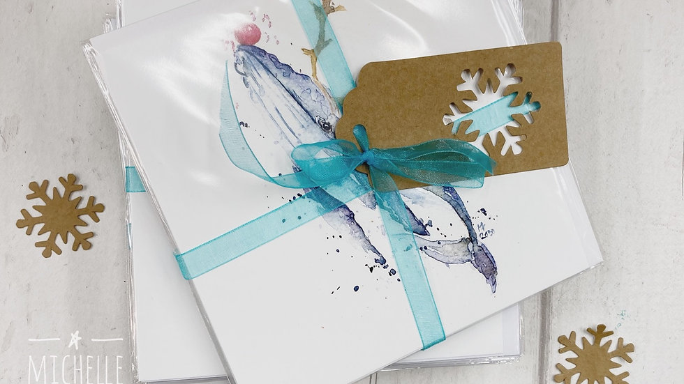 Festive Sea Life Greeting Card pack of 6