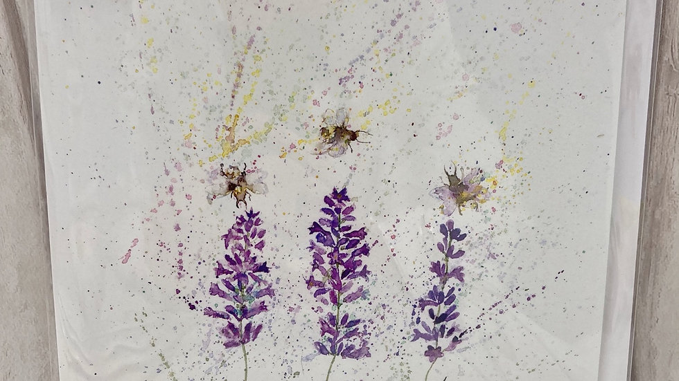 "Greeting Card ""Lavender & Bees"""