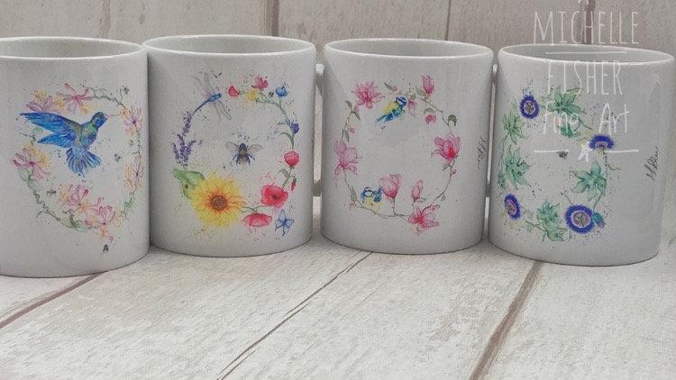 Botanical set of 4 mugs designed by Michelle Fisher Fine Art