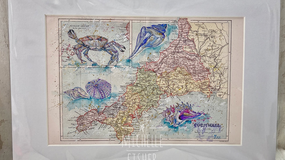 "Vintage ""Shell Cornwall Map"""