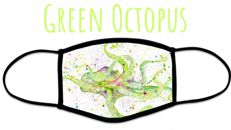 Green Octopus Face Coverings