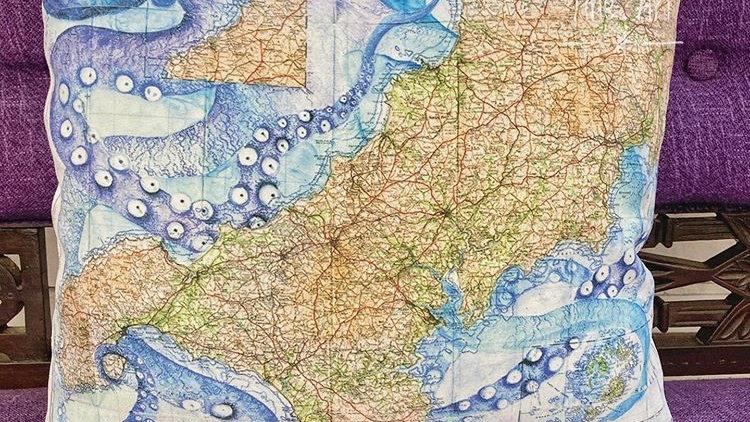 Luxury Kraken Cornish Map Cushion