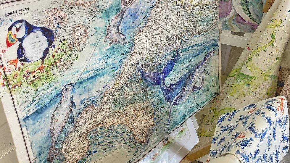 Sea Life Vintage Cornwall & Isle of Scilly map Tea Towel