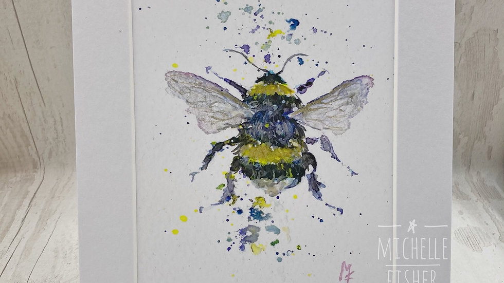 Bumbling Bumble Bee hand embellished & signed  print