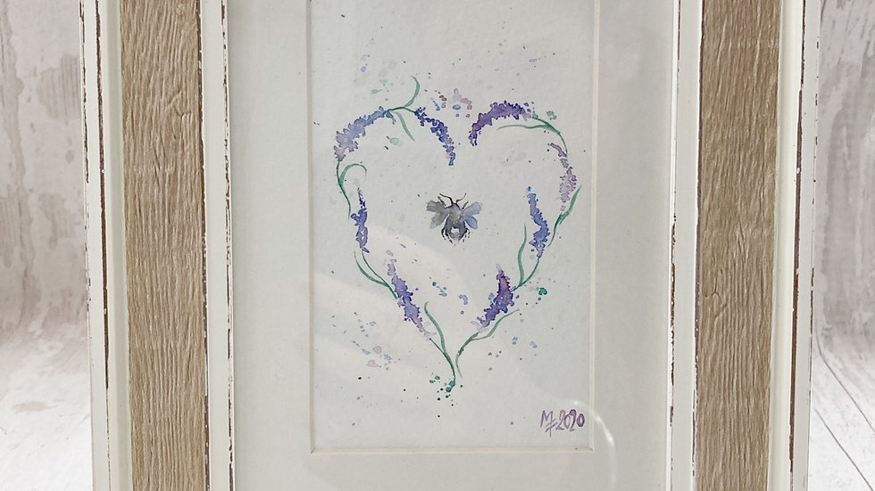 Original Framed Lavender Heart & Bees