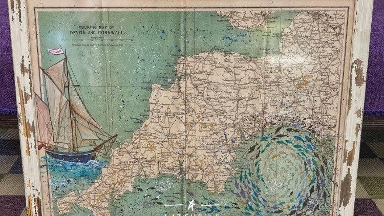 Limited Edition Embellished Vintage Bessie Ellen & Whirlpool map