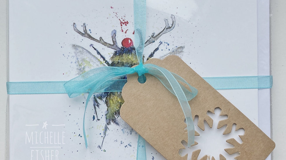 """""""Oh Christmas Bee, Oh Christmas Bee"""" pack of 6 festive cards"""