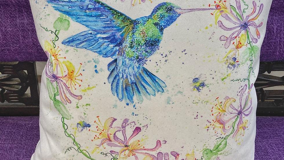 Hummingbird and Honeysuckle cushion