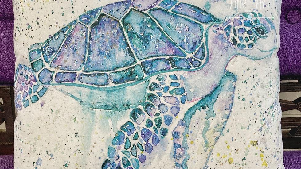 Sea Turtle Luxury suede effect cushion