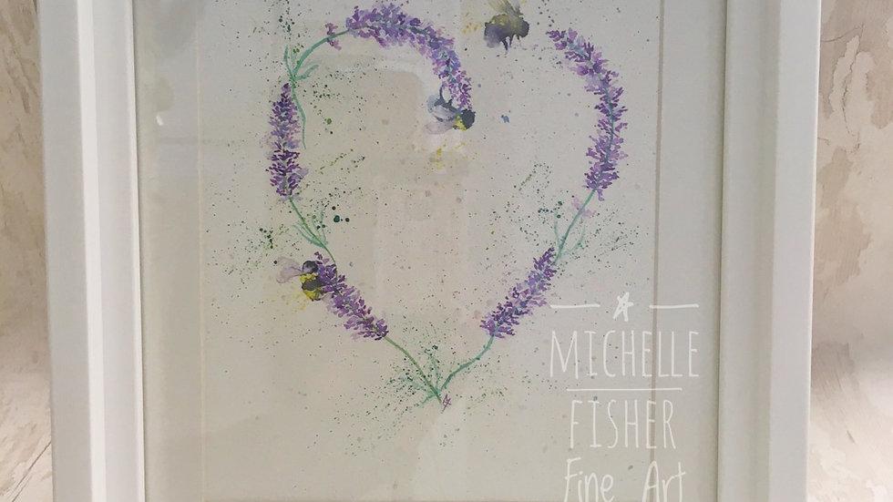 Original Lavender Heart & Bumblebees