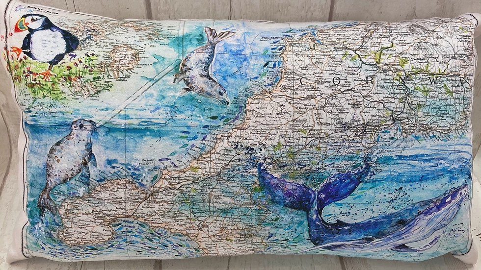 Vintage Sea Life Map Bolster Cushion