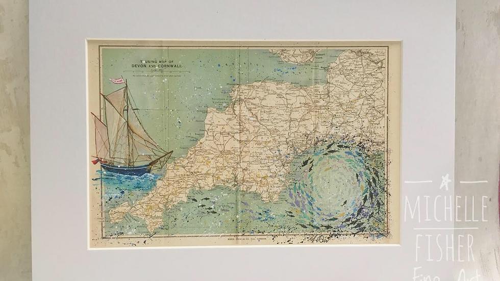 Vintage map Bessie Ellen & Whirlpool Fish Prints