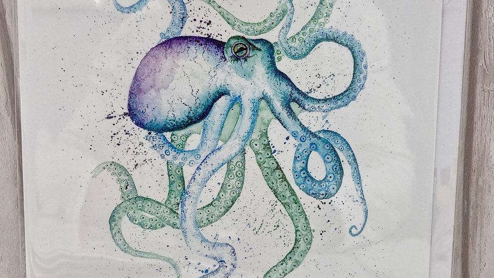 Octopus greeting card.