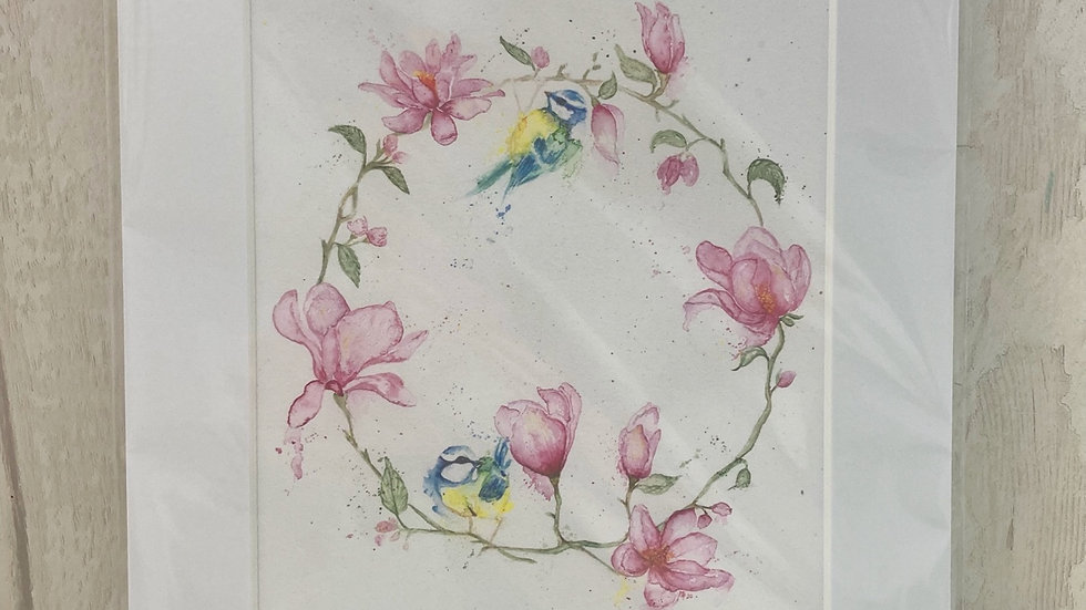 Magnolia & Blue Tits print