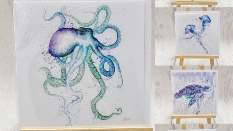 Sea life greeting cards pack of 5
