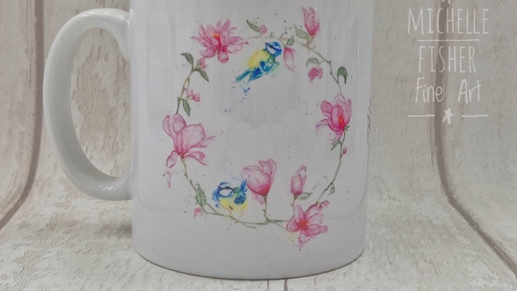 Magnolia & Blue Tit mug