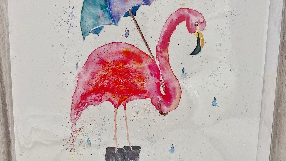 Rainy Flamingo Greeting card
