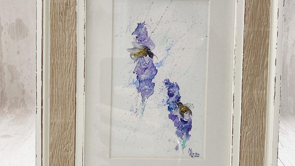 Original framed Lavender & Bees