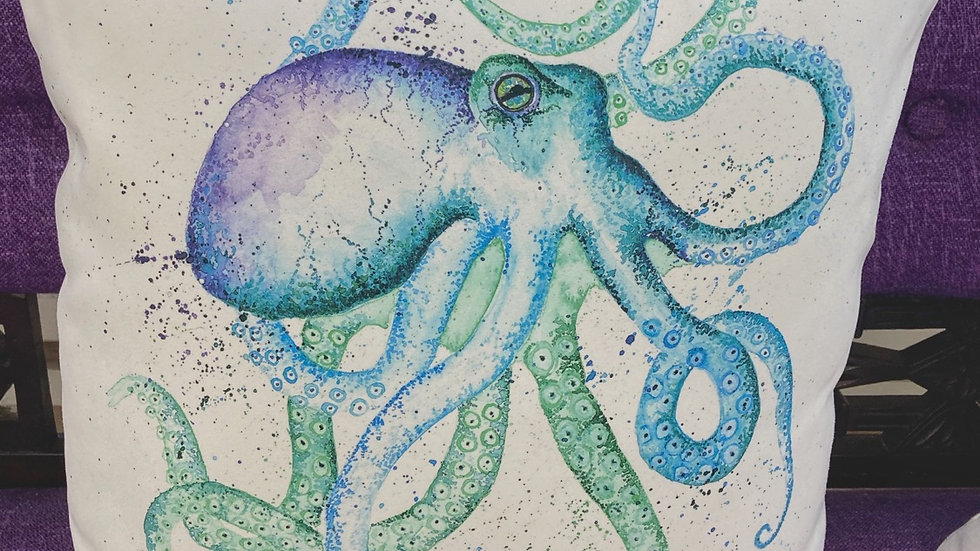 Suede effect Octopus cushion