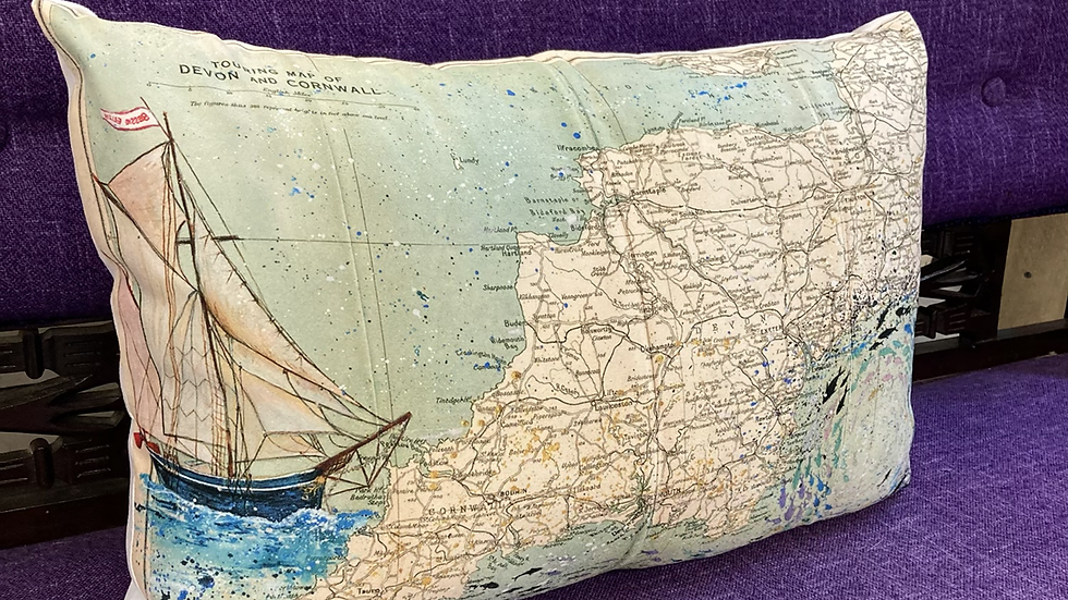 Bessie Ellen & Whirlpool vintage map cushions