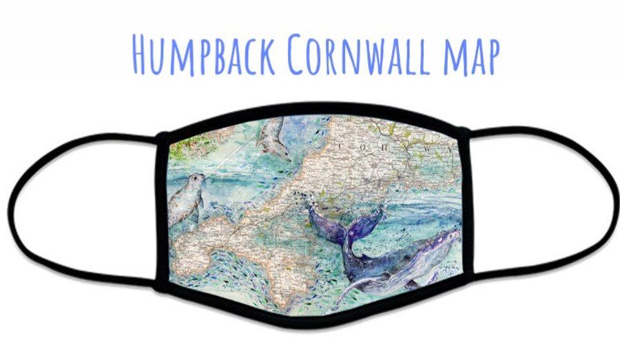 Humpback Cornwall Map Face Covering