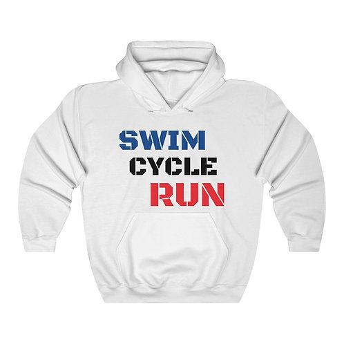 Unisex Heavy Blend™ Hooded 'SWIM CYCLE RUN' Sweatshirt